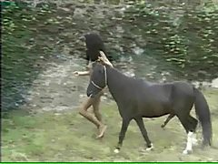 Country girl grinding on pony's big dick